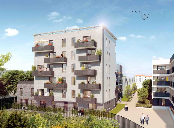 En bordure de square, l'immeuble de 35 logements en accession, dessiné par les architectes de BVFG