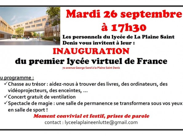 Inauguration alternative des personnels du lycée de la Plaine Saint-Denis